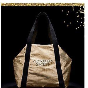 Victoria's Secret Packable Weekender Bag Gold Logo